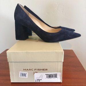 Marc Fisher Zala Navy Blue Velvet Heels Pumps